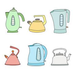 Tea time cartoon set isolated objects vector