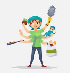 the typical woman that has a lots of chores to do vector image