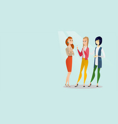 Three multiracial friends looking at mobile phone vector