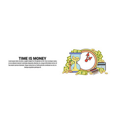 time is money concept horizontal banner with copy vector image