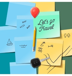 Travel and tourism concept Lets go travel text on vector
