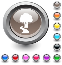 Tree round button vector image