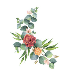 Watercolor hand painted wreath with green vector