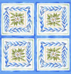 Watercolor ornament square pattern vector