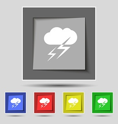 Weather icon sign on original five colored buttons vector