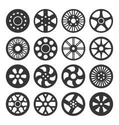 Wheel Disks or Rims Icon Set vector