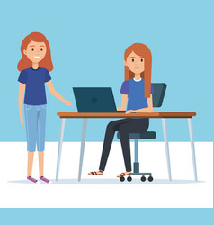 young girls in the workplace avatars characters vector image