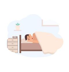 Young man sleeping beside nightstand vector