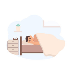 young man sleeping beside nightstand with vector image