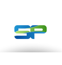 blue green sp s p alphabet letter logo vector image vector image