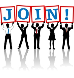 Business people hold up Join sign vector image vector image