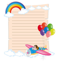 paper template with kid on plane vector image vector image