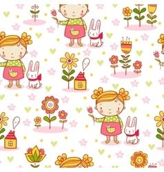 Cute cartoon girl seamless pattern vector image vector image