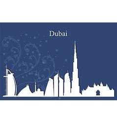 Dubai city skyline on blue background vector image vector image