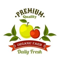 Fresh from the farm apple fruits retro icon design vector image vector image