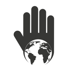 hand human stop planet earth silhouette vector image vector image