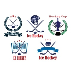 Ice Hockey sporting heraldic emblems and symbols vector image vector image