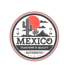 mexican vintage isolated label with cactuses vector image vector image