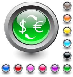 Money exchange round button vector image