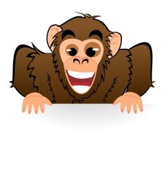 Monkey behind white board vector image vector image