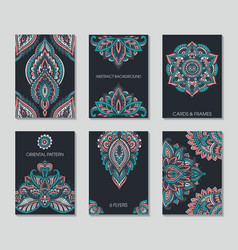 Set of six cards or flyers with abstract henna vector image vector image