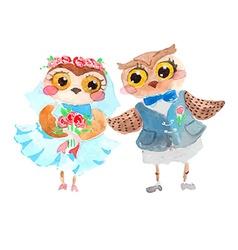 Watercolor cute owls vector image vector image