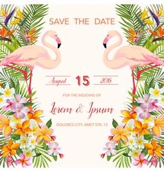 Wedding Card Tropical Flowers Flamingo vector image vector image