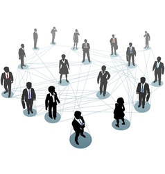 Business people network connection nodes vector image vector image