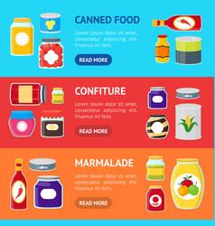 cartoon canned and jar food banner horizontal set vector image vector image