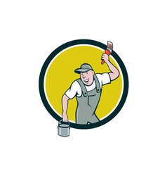 House Painter Paintbrush Paint Bucket Circle vector image vector image