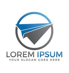paper plane travel logo design vector image vector image