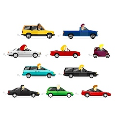 Business man and women driving cars vector