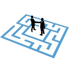 Business people team find connection in maze vector image vector image