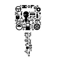 Car Service Decorative Flat Icons Set vector image vector image