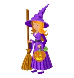 cartoon image of funny witch with red hair vector image