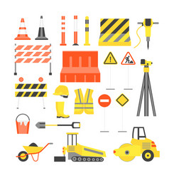 cartoon road construction color icons set vector image vector image