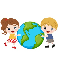 children hug earth vector image vector image