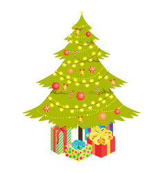 christmas tree and presents vector image