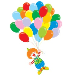 Circus clown flies with balloons vector image