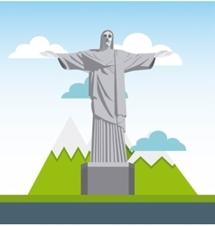 corcovado christ statue isolated icon vector image