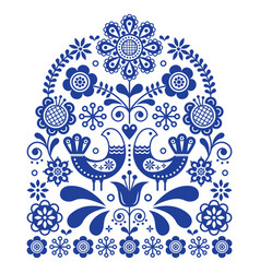 folk art ornament with birds and flowers vector image vector image