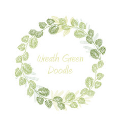 Greenery doodle leaf wreath vector