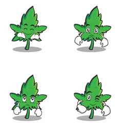 marijuana character cartoon set style vector image