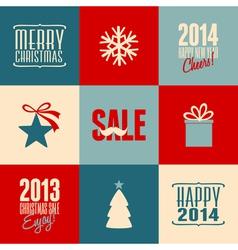 retro design christmas cards set vector image vector image