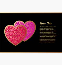 romantic card with two hearts vector image vector image