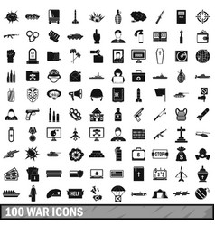 100 war icons set simple style vector image