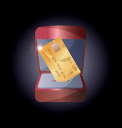 a realistic gold credit card in a gift box for vector image