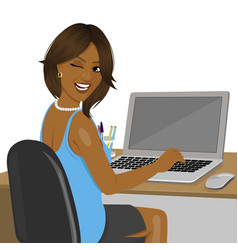 African american woman sitting in office vector
