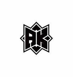 Ak monogram logo with square rotate style outline vector