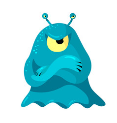 Angry slug monster or alien with one big and two vector